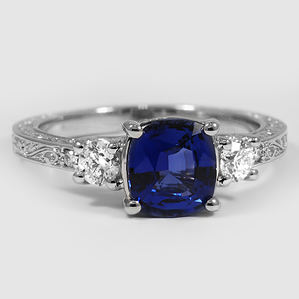 Platinum Sapphire Antique Scroll Three Stone Trellis Ring (1/3 ct. tw.)