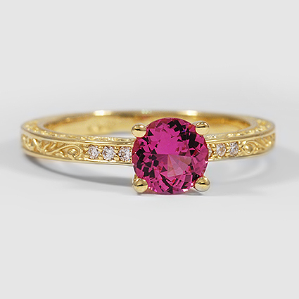 18K Yellow Gold Sapphire Delicate Antique Scroll Diamond Ring