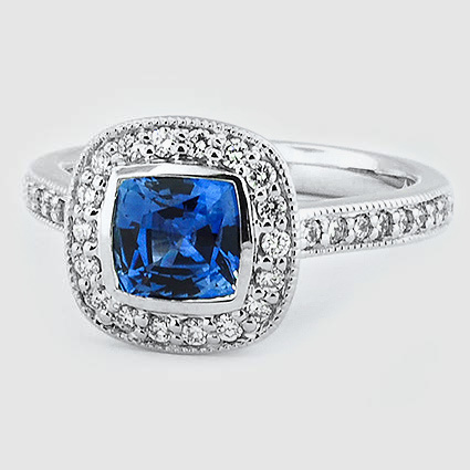 18K White Gold Sapphire Fancy Bezel Halo Diamond Ring with Side Stones