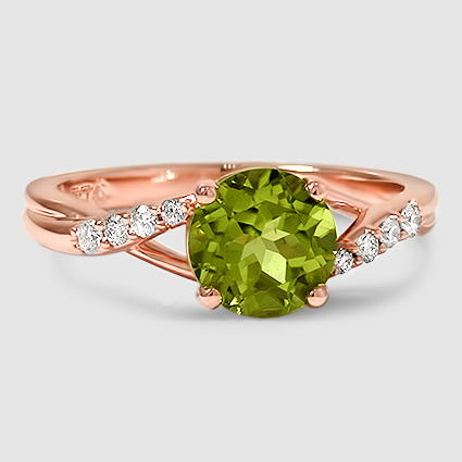14K Rose Gold Sapphire Chamise Diamond Ring