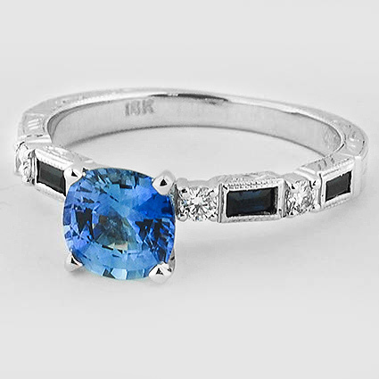 18K White Gold Sapphire Vintage Sapphire and Diamond Ring