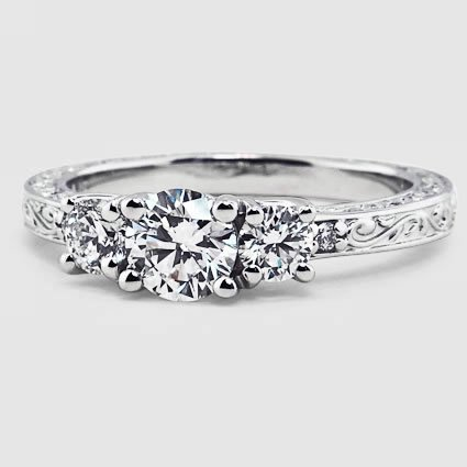 18K White Gold Antique Scroll Three Stone Trellis Ring (1/3 ct. tw.)