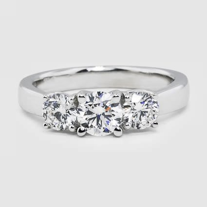 18K White Gold Three Stone Diamond Trellis Ring (1/2 ct. tw.)