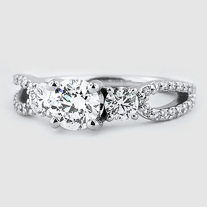 18K White Gold Lumiere Three Stone Ring (1/2 ct. tw.)