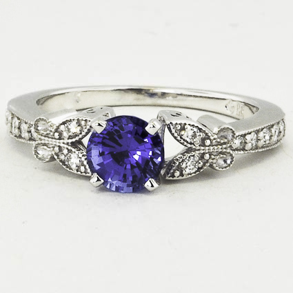 18K White Gold Sapphire Monarch Diamond Ring