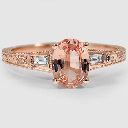 14K Rose Gold Sapphire Regalia Diamond Ring