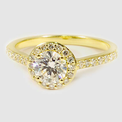 18K Yellow Gold Halo Diamond Ring with Side Stones (1/3 ct. tw.)