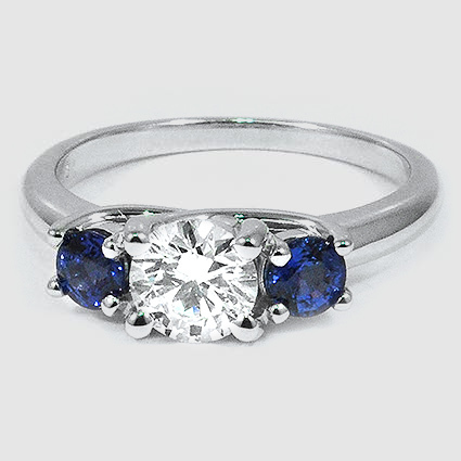 18K White Gold Three Stone Diamond and Sapphire Trellis Ring