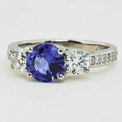Platinum Sapphire Three Stone Round Diamond Pavé Trellis Ring
