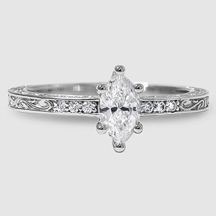 18K White Gold Delicate Antique Scroll Diamond Ring