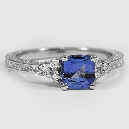 Platinum Sapphire Adorned Trio Diamond Ring