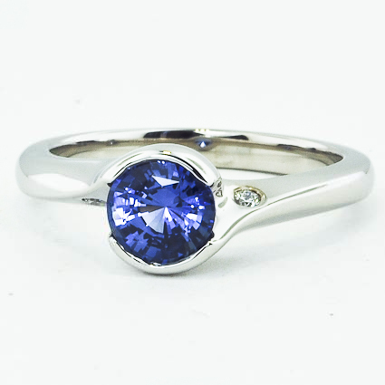 18K White Gold Sapphire Cascade Ring with Diamond Accents