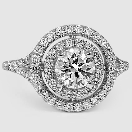 18K White Gold Double Halo Diamond Ring (1/2 ct. tw.)