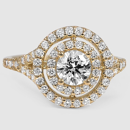 18K Yellow Gold Double Halo Diamond Ring (1/2 ct. tw.)