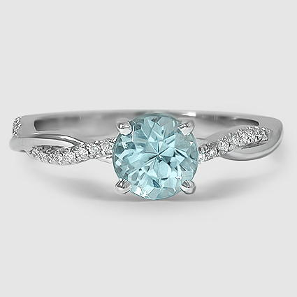 18K White Gold Sapphire Petite Twisted Vine Diamond Ring