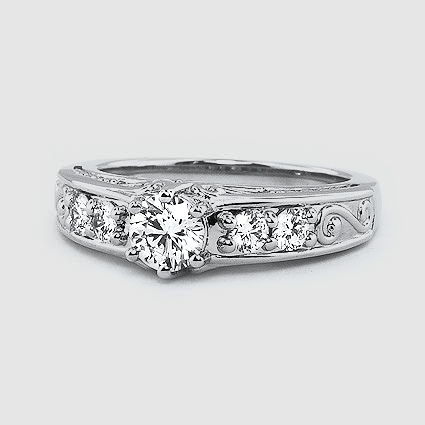 18K White Gold Art Deco Filigree Diamond Ring (1/4 ct. tw.)