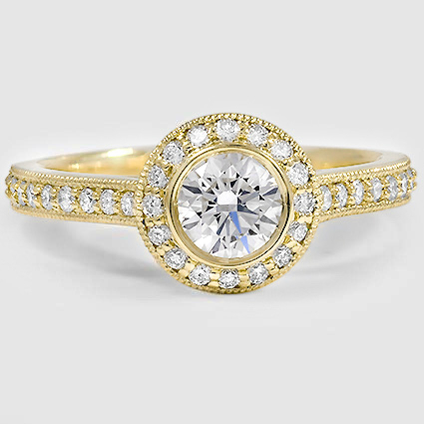 18K Yellow Gold Round Bezel Halo Diamond Ring with Side Stones (1/3 ct. tw.)