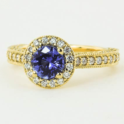 18K Yellow Gold Sapphire Luxe Pavé Diamond Halo Ring