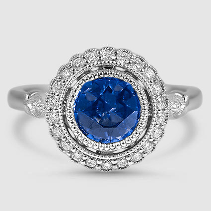 18K White Gold Sapphire Bella Diamond Ring