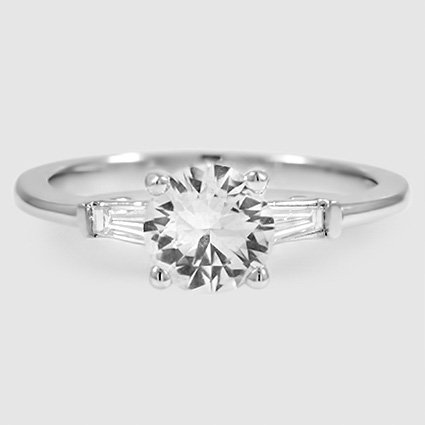 Platinum Sapphire Tapered Baguette Diamond Ring