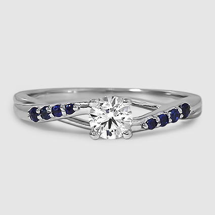 18K White Gold Chamise Ring with Sapphire Accents