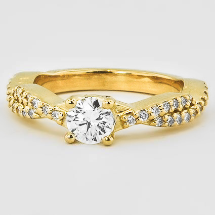 18K Yellow Gold Twisted Vine Diamond Ring (1/4 ct. tw.)