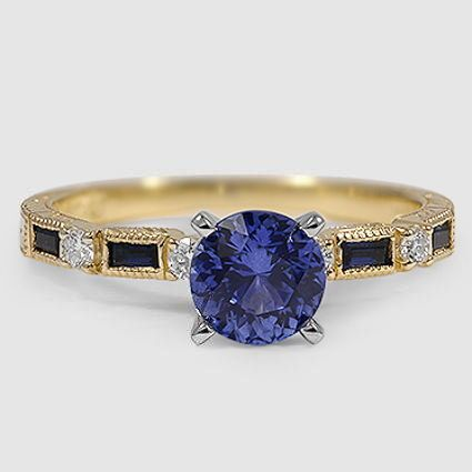 18K Yellow Gold Sapphire Vintage Sapphire and Diamond Ring