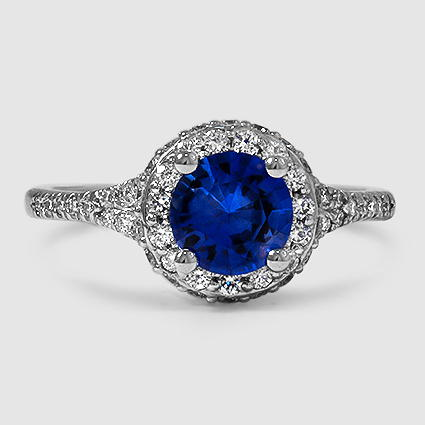 18K White Gold Sapphire Circa Diamond Ring (1/2 ct. tw.)