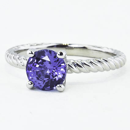 18K White Gold Sapphire Entwined Ring