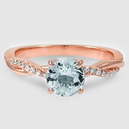 14K Rose Gold Sapphire Petite Twisted Vine Diamond Ring
