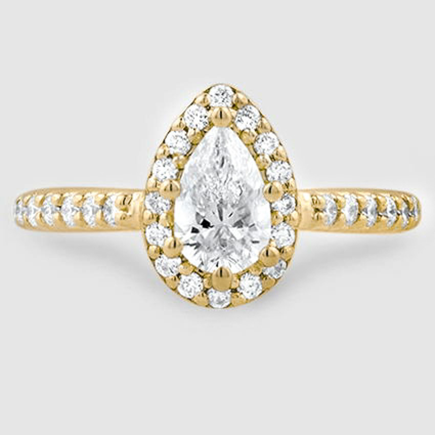 18K Yellow Gold Fancy Halo Diamond Ring with Side Stones (2/5 ct. tw.)
