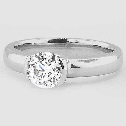18K White Gold Petite Semi-Bezel Ring