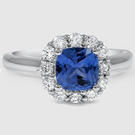 Platinum Sapphire Lotus Flower Diamond Ring (1/3 ct. tw.)