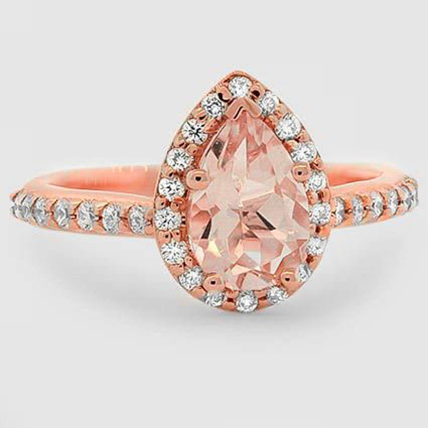 14K Rose Gold Sapphire Fancy Halo Diamond Ring with Side Stones