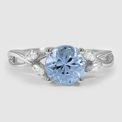 18K White Gold Sapphire Willow Diamond Ring