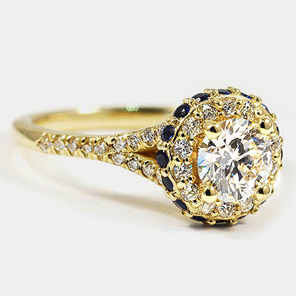 18K Yellow Gold Circa Diamond Ring with Sapphire Accents