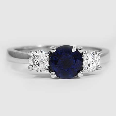18K White Gold Sapphire Three Stone Diamond Trellis Ring (1/2 ct. tw.)