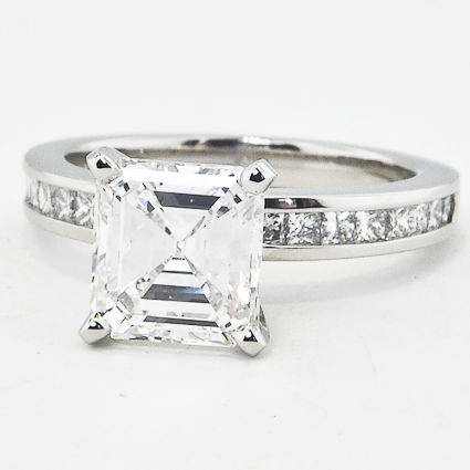 Platinum Petite Channel Set Princess Diamond Ring (1/3 ct. tw.)