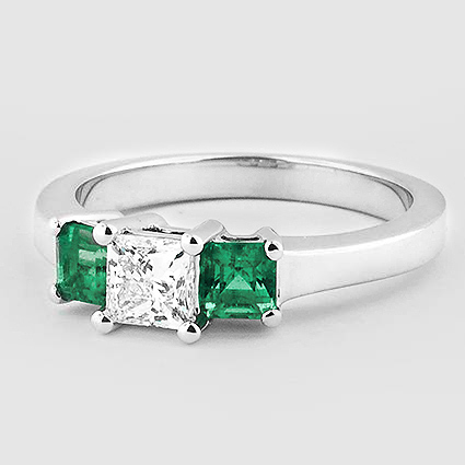18K White Gold Three Stone Diamond and Emerald Ring