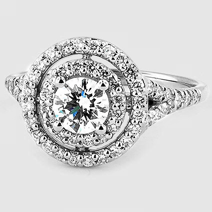 Platinum Double Halo Diamond Ring (1/2 ct. tw.)