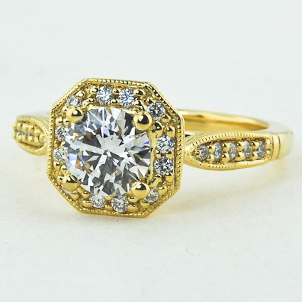 18K Yellow Gold Victorian Halo Diamond Ring