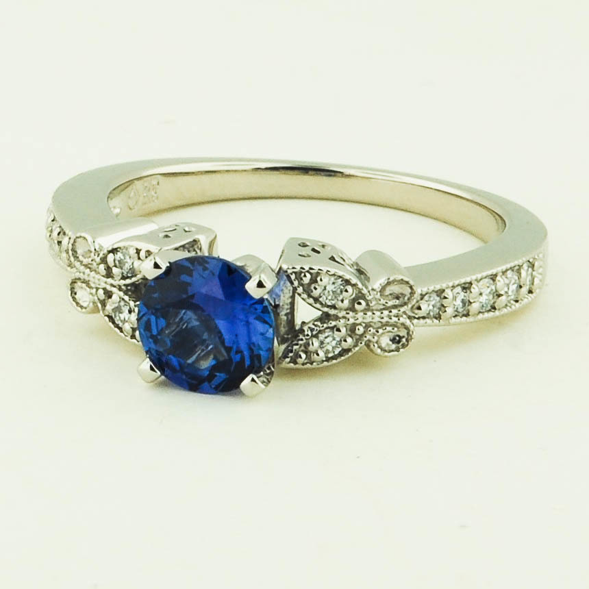 Platinum Sapphire Monarch Diamond Ring