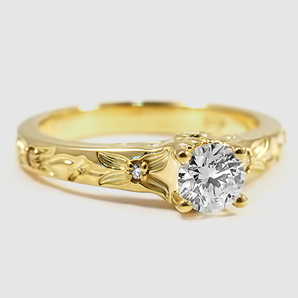 18K Yellow Gold Flower Bud Diamond Ring