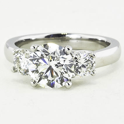 Platinum Three Stone Diamond Trellis Ring (1/2 ct. tw.)
