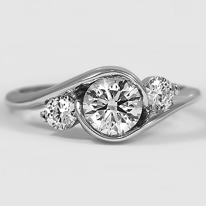 18K White Gold Cascade Three Stone Ring (1/3 ct. tw.)