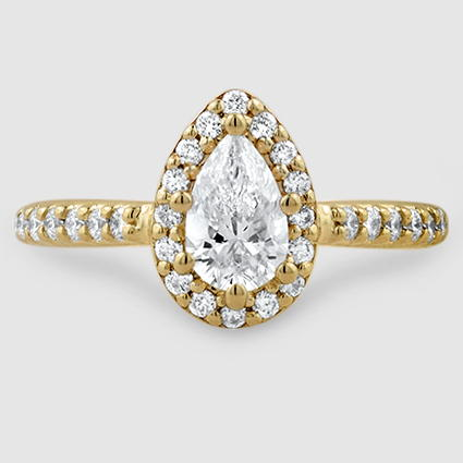 18K Yellow Gold Fancy Halo Diamond Ring with Side Stones