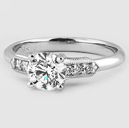 18K White Gold Antique Nouveau Diamond Ring