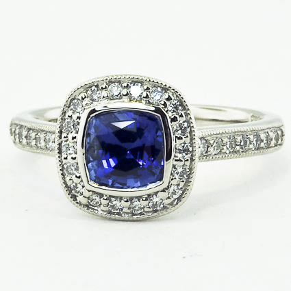 Platinum Sapphire Fancy Bezel Halo Diamond Ring with Side Stones