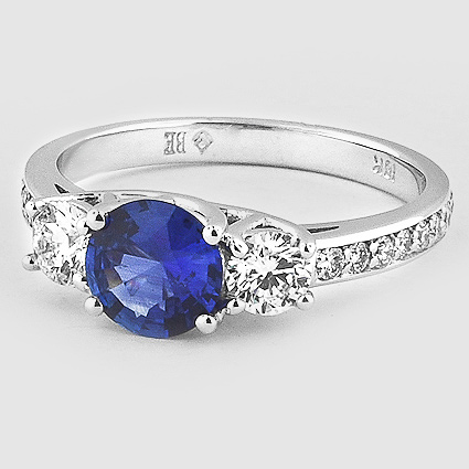 18K White Gold Sapphire Three Stone Round Diamond Pavé Trellis Ring