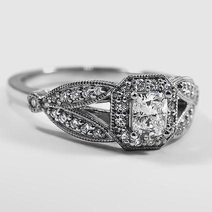 Platinum Luxe Victorian Split Shank Halo Diamond Ring